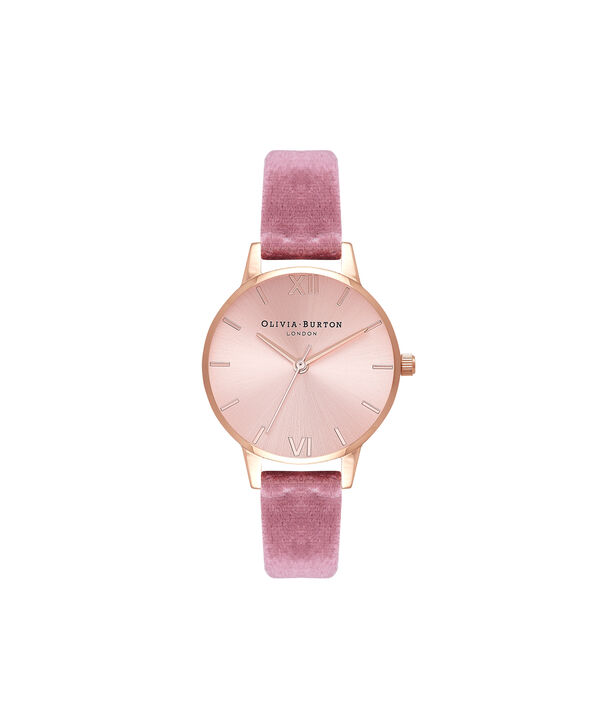 OLIVIA BURTON LONDON Exclusive Midi Dial Rose Velvet & Rose Gold Sunray OB16MD90 – Big Dial Round in Rose Gold - Front view