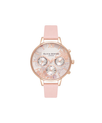 OLIVIA BURTON LONDON  Chrono Demi Dial Dusty Pink & Rose Gold OB16CGS07 – Demi Dial Round in Rose Gold and Pink - Front view