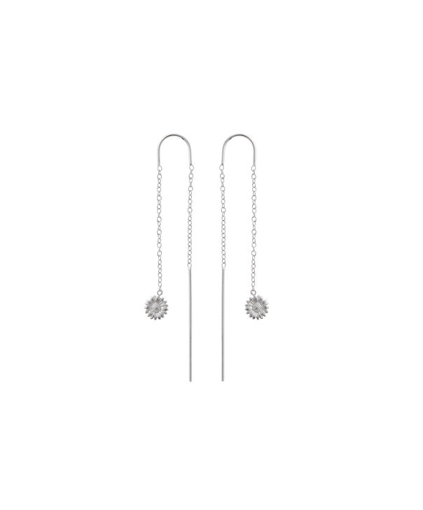 OLIVIA BURTON LONDON  Daisy Threader Earrings Silver OBJ16DAE18 – 3D Daisy Drop Chain Earrings - Front view