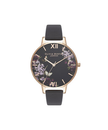 OLIVIA BURTON LONDON Blooms & Butterflies Black And Rose GoldOB16EX105 – Big Dial In Black And Rose Gold - Front view
