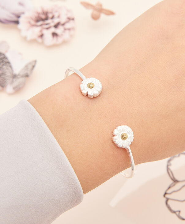 OLIVIA BURTON LONDON  Daisy Open Ended Bangle Silver & Gold OBJ16DAB09 – 3D Daisy Bangle - Other view