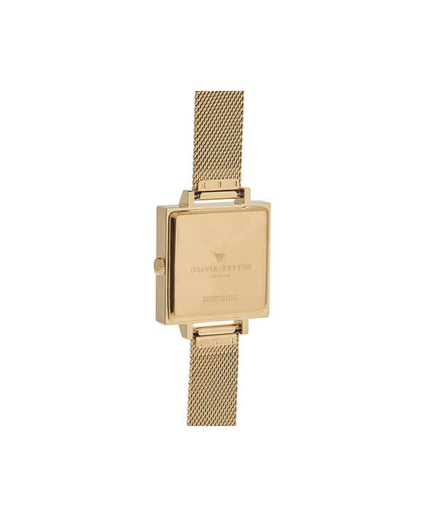 OLIVIA BURTON LONDON  Big Square Dial Gold Mesh Watch OB16SS11 – Big Dial Square in White and Gold - Back view