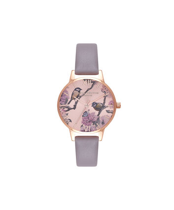 OLIVIA BURTON LONDON  Pretty Blossom Rose Gold & London Grey Watch OB16PL36 – Midi Dial Round in London Grey and Rose Gold - Front view