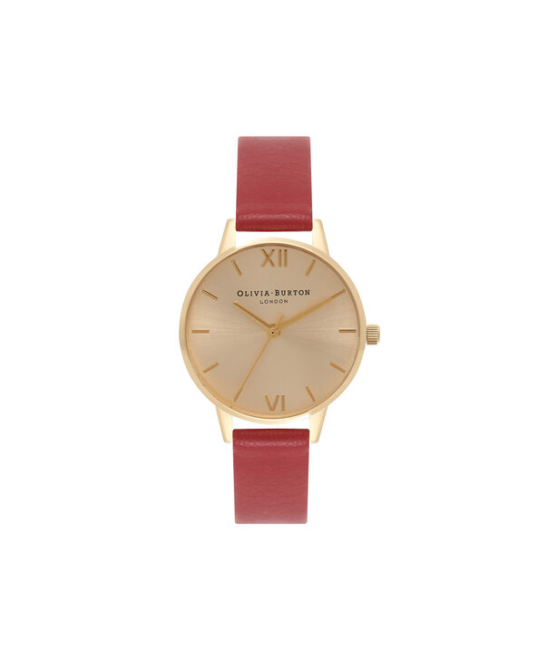 OLIVIA BURTON LONDON  Midi Dial Red And Gold Watch OB15MD63 – Midi Dial Round in Gold and Red - Front view