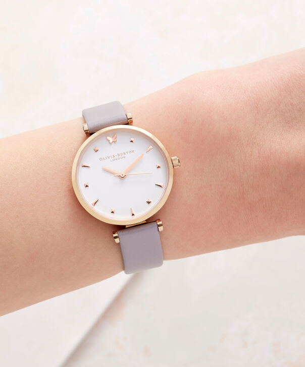OLIVIA BURTON LONDON  Social Butterfly White Dial Grey Lilac & Rose Gold Watch OB16MB13 – Midi Dial Round in White and Rose Gold - Other view