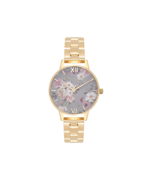 OLIVIA BURTON LONDON  Winter Garden Big Dial Grey & Gold Watch OB16EG95 – Big Dial in Grey Floral and Gold - Front view