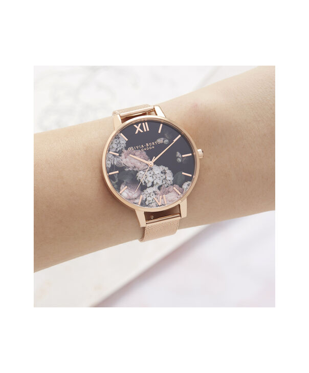 OLIVIA BURTON LONDON Signature Floral Black Dial & Rose Gold MeshOB16WG55 – Big Dial In Rose Gold And Rose Gold - Other view