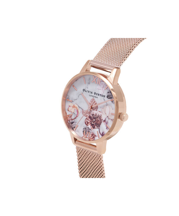 OLIVIA BURTON LONDON  Marble Floral Rose Gold Mesh Watch OB16CS06 – Midi Dial in White and Rose Gold - Side view