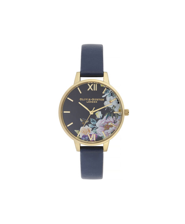 OLIVIA BURTON LONDON Enchanted Garden Demi Dial WatchOB16EG113 – Demi Dial in blue and Gold - Front view
