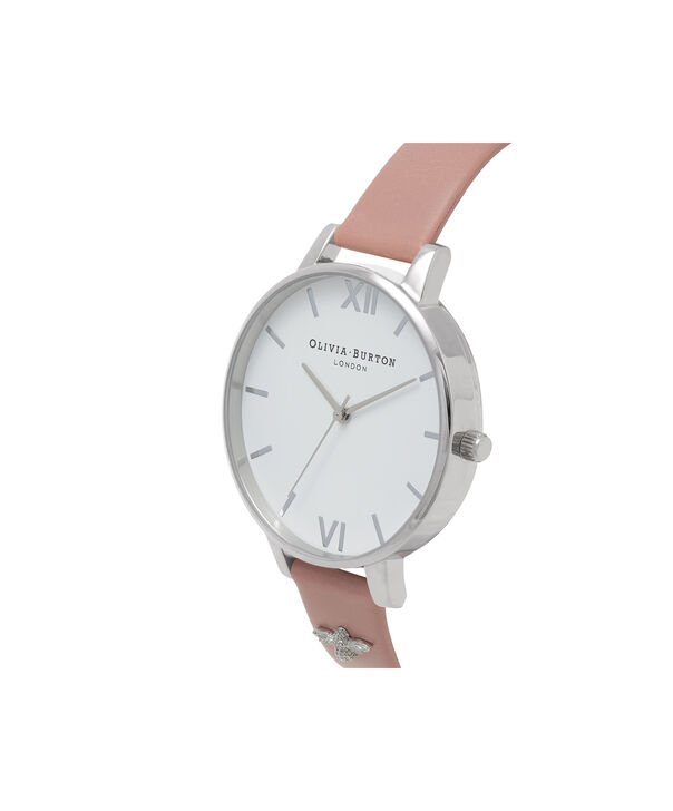 OLIVIA BURTON LONDON  3D Bee Embellished Strap Rose & Silver Watch OB16ES01 – Big Dial Round in White and Rose - Side view