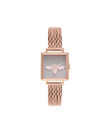 OLIVIA BURTON LONDON  Square Dial 3D Bee Rose Gold Mesh Watch OB16AM132 – Midi Square Grey and Rose Gold - Front view