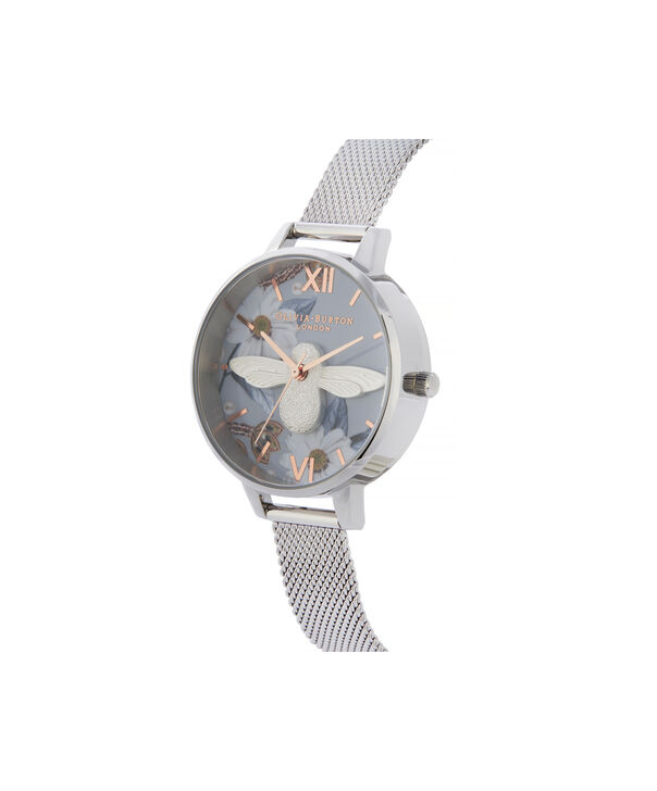 OLIVIA BURTON LONDON Bejewelled Florals 3D Bee Demi Dial WatchOB16BF18 – Demi Dial in blue and Silver - Side view