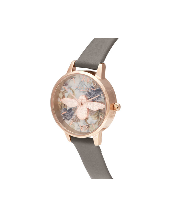 OLIVIA BURTON LONDON Midi 3D Bee Vegan London Grey & Rose GoldOB16CS19 – Midi Dial in London Grey and Rose Gold - Side view