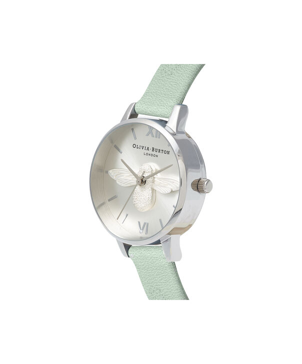 OLIVIA BURTON LONDON  3D Bee Sage & Silver OB16AM149 – Midi Dial Round in Silver - Side view