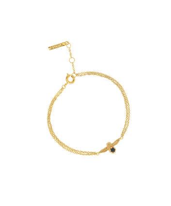 OLIVIA BURTON LONDON  3D Bee Bejewelled Chain Bracelet Gold with Black Onyx Gemstone OBJ16AMB25 – 3D Bee Bejewelled Chain Bracelet - Front view