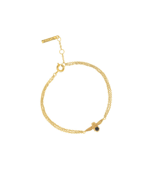 Ladies 3D Bee Bejewelled Chain Bracelet Gold with Black Onyx Gemstone | Olivia Burton London
