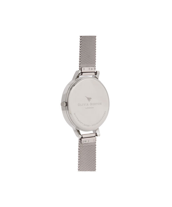 OLIVIA BURTON LONDON Abstract Florals Silver Mesh Watch  OB16VM20 – Midi Round Silver and Rose Gold - Back view