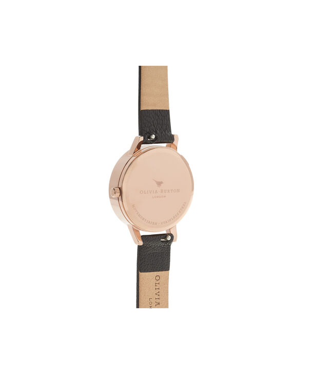 OLIVIA BURTON LONDON  Dancing Daisy Black & Rose Gold Watch OB16CH05 – Midi Dial Round in Black and Rose Gold - Back view