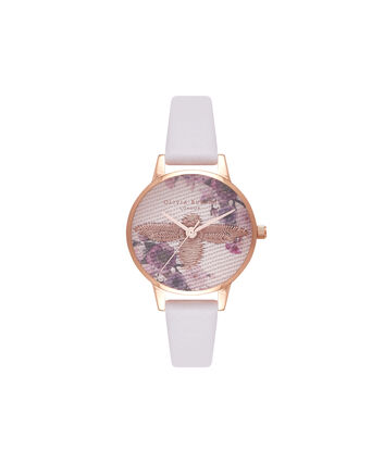 OLIVIA BURTON LONDON  Embroidered Dial 3D Bee Blush and Rose Gold Watch OB16EM06 – Midi Dial Round in White and Blush - Front view
