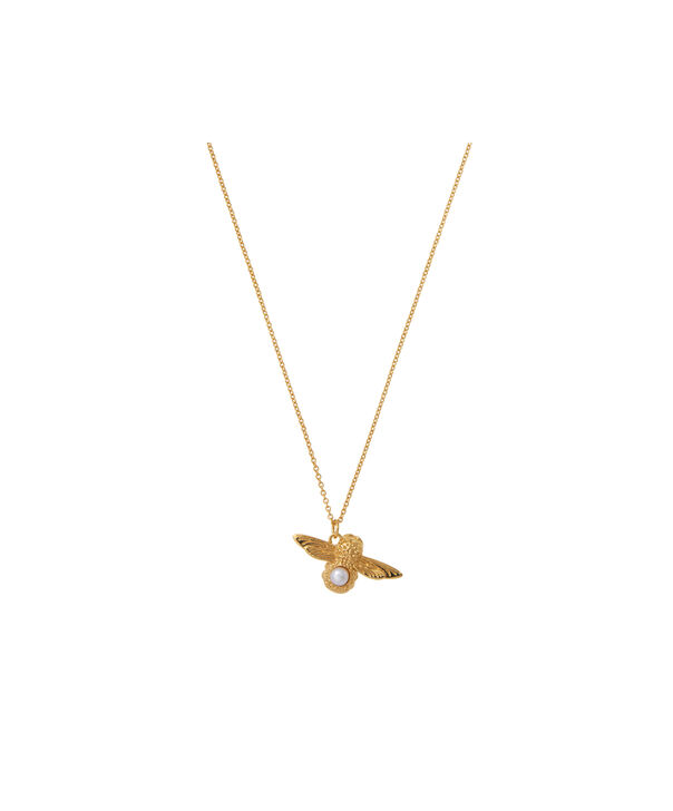 OLIVIA BURTON LONDON Pearl Bee Pendant Necklace GoldOBJ16AMN28 – Pearl Bee Pendant - Front view