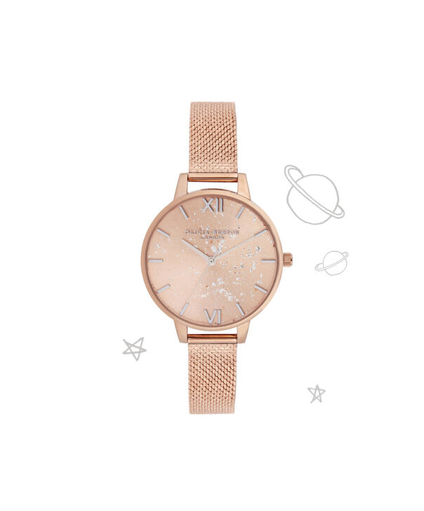 OLIVIA BURTON LONDON Celestial Demi Dial Watch with Boucle MeshOB16GD12 – Demi Dial in rose gold and Silver & Rose Gold - Front view