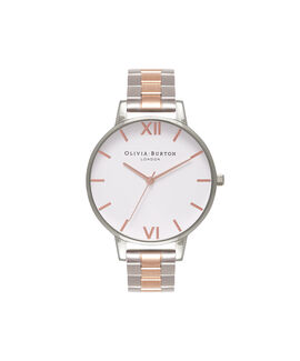 White Dial Bracelet Silver & Rose Gold Watch