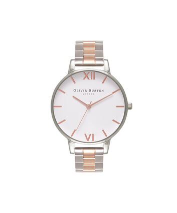 OLIVIA BURTON LONDON White Dial Bracelet Silver & Rose Gold WatchOB16BL32 – Big in White, Rose Gold and Silver - Front view