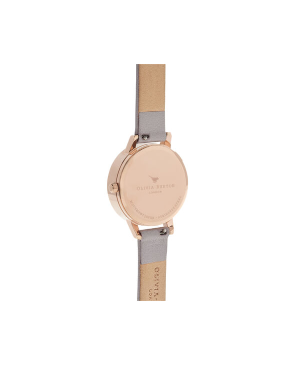 OLIVIA BURTON LONDON Abstract Florals Grey Lilac & Rose Gold Watch OB16VM17 – Midi Round in Rose Gold and Grey Lilac - Back view