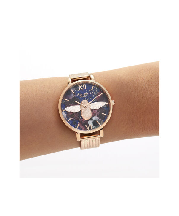 OLIVIA BURTON LONDON Big Dial 3D Bee Lapis Lazuli & Rose Gold Boucle MeshOB16SP11 – Big Dial in Rose Gold and Rose Gold - Other view