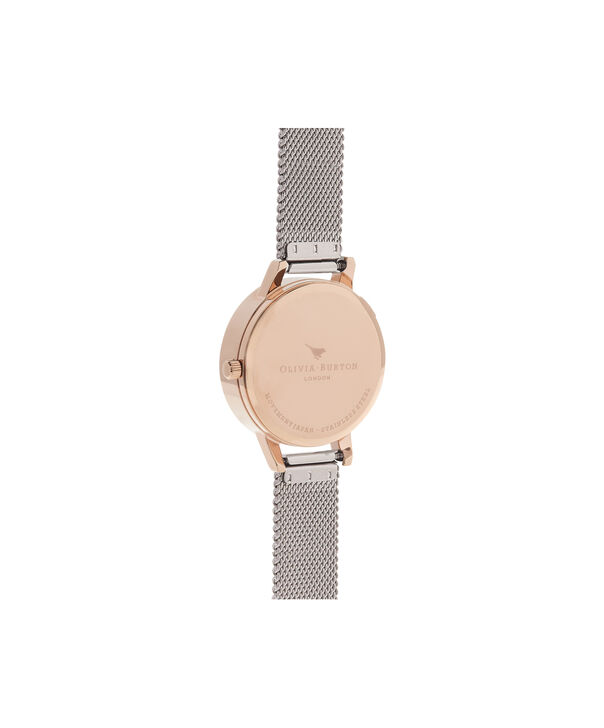 OLIVIA BURTON LONDON  3D Daisy Rose Gold & Silver Mesh Watch OB16FS94 – Midi Dial Round in White and Silver - Back view