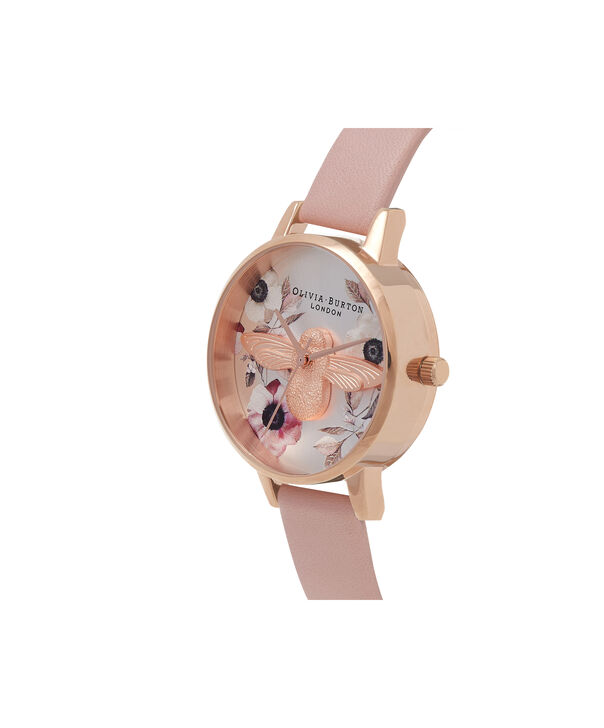 OLIVIA BURTON LONDON Botanical 3D Bee Dusty Pink, Rose Gold WatchOB16AM101 – Midi Dial Round in White and Pink - Side view