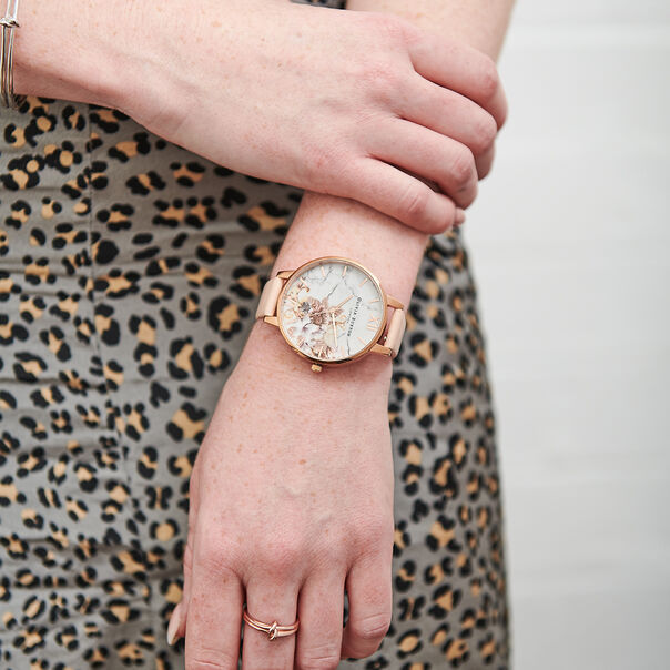 OLIVIA BURTON LONDON  Marble Floral Nude Peach & Rose Gold Watch OB16CS12 – Big Dial in White and Nude Peach - Other view