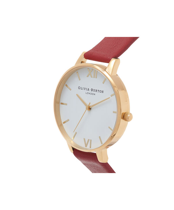 OLIVIA BURTON LONDON  Big Dial Red & Gold Watch OB15BDW01 – Big Dial Round in White and Red - Side view