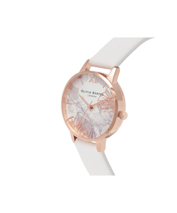 OLIVIA BURTON LONDON Abstract Florals Blush & Rose Gold Watch OB16VM12 – Midi Dial Round in White and Blush - Side view