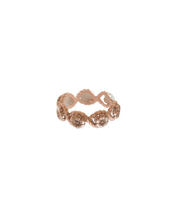 OLIVIA BURTON LONDON  Floral Charm Rope Ring Rose Gold OBJ16FSR05 – Floral Charm Ring - Front view