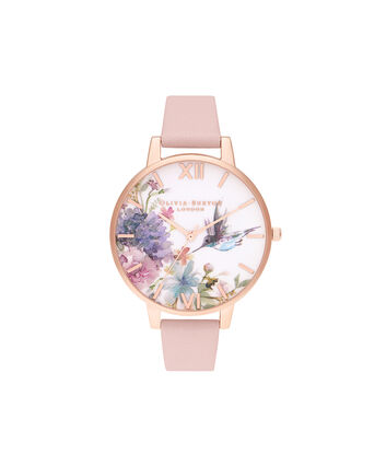 OLIVIA BURTON LONDON Painterly Prints Big Dial Dusty Pink & Rose GoldOB16PP44 – Painterly Prints Big Dial Dusty Pink & Rose Gold - Front view