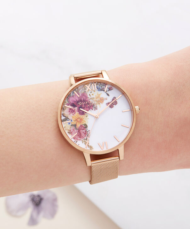 OLIVIA BURTON LONDON  Enchanted Garden Gold Mesh Watch OB16EG82 – Big Dial Round in White and Gold - Other view