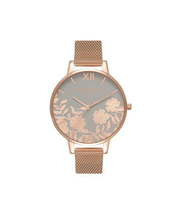 OLIVIA BURTON LONDON Lace Detail Grey & Rose Gold Mesh Watch OB16MV65 – Big Dial Round in Grey and Rose Gold - Front view