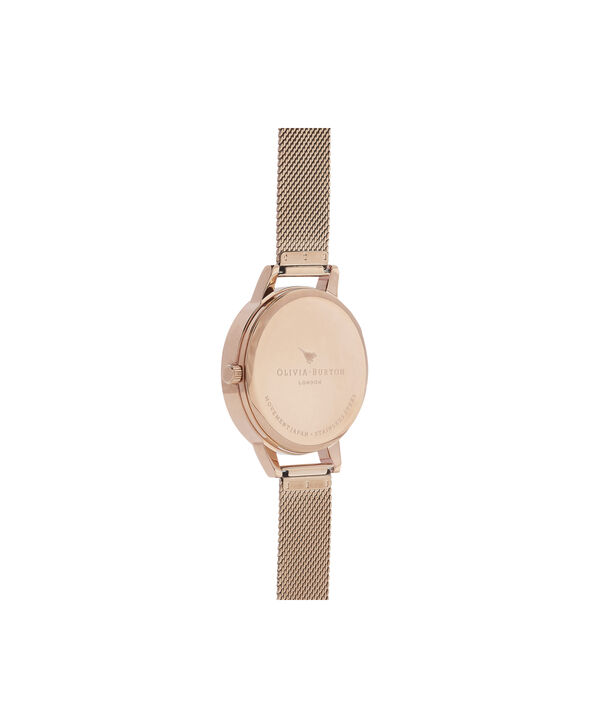 OLIVIA BURTON LONDON Blooms & Butterflies Grey Dial And Rose Gold MeshOB16EX108 – Midi Dial In Rose Gold And Rose Gold - Back view