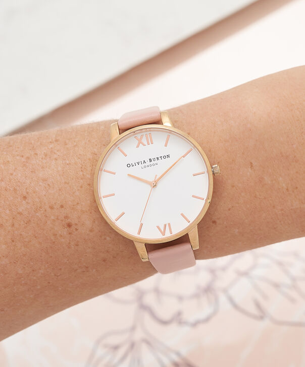 OLIVIA BURTON LONDON Big Dial Dusty Pink Watch, Rose GoldOB16BDW25 – Big Dial Round in White and Dusty Pink - Other view
