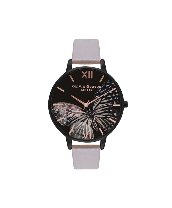OLIVIA BURTON LONDON  After Dark Matte Black & Grey Lilac Watch OB16AD01 – Big Dial Round in Black and Grey Lilac - Front view