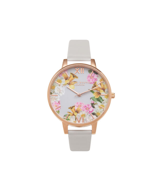 OLIVIA BURTON LONDON  Flower Show Blush & Rose Gold Watch OB15FS71 – Big Dial Round in Floral and Blush - Front view