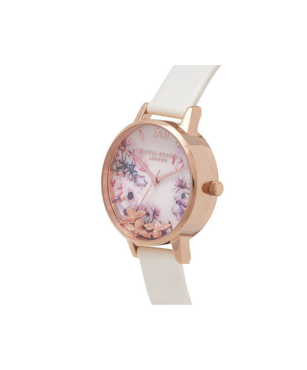 OLIVIA BURTON LONDON  Busy Bees Nude & Rose Gold Watch OB16CH13 – Midi Dial Round in White and Nude - Side view