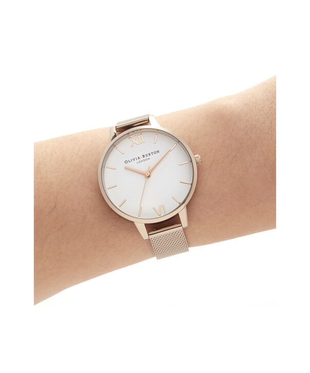 OLIVIA BURTON LONDON Demi White Dial Pale Rose Gold MeshOB16DE10 – Demi Dial In Rose Gold And Rose Gold - Other view