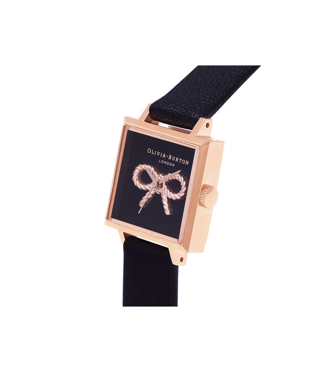 OLIVIA BURTON LONDON Vintage Bow Black & Rose Gold Watch OB16VB03 – Midi Dial Square in Black - Side view