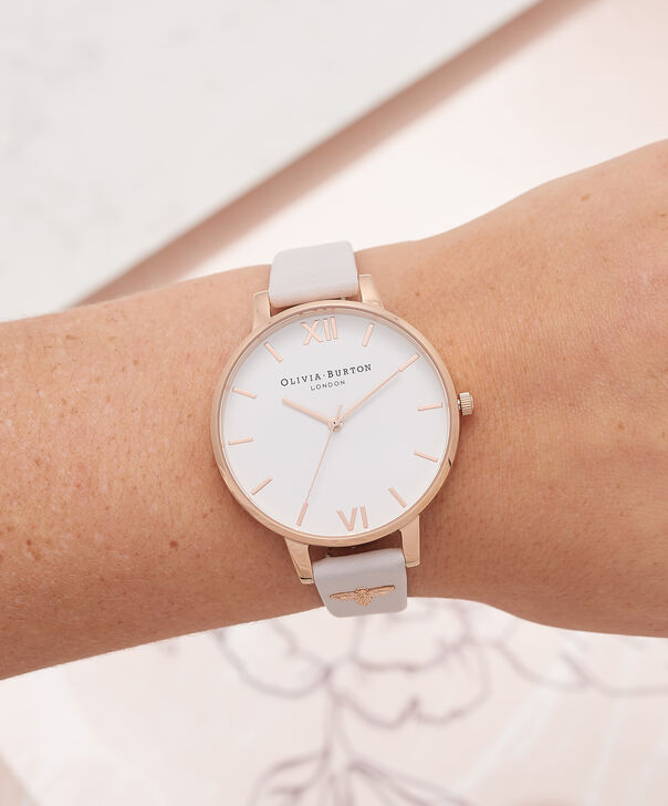 OLIVIA BURTON LONDON  3D Bee Embellished Strap Blush & Rose Gold Watch OB16ES02 – Big Dial Round in White and Blush - Other view