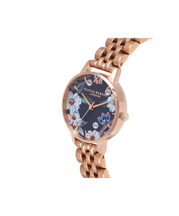 OLIVIA BURTON LONDON  Bejewelled Florals Navy Sunray & Rose Gold Bracelet OB16BF17 – Midi Dial Round in Rose Gold - Side view