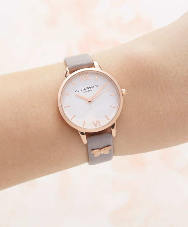 OLIVIA BURTON LONDON  Embellished Strap Butterfly, Grey Lilac & Rose Gold OB16MDW39 – Midi Dial Round in Rose Gold and Grey - Other view
