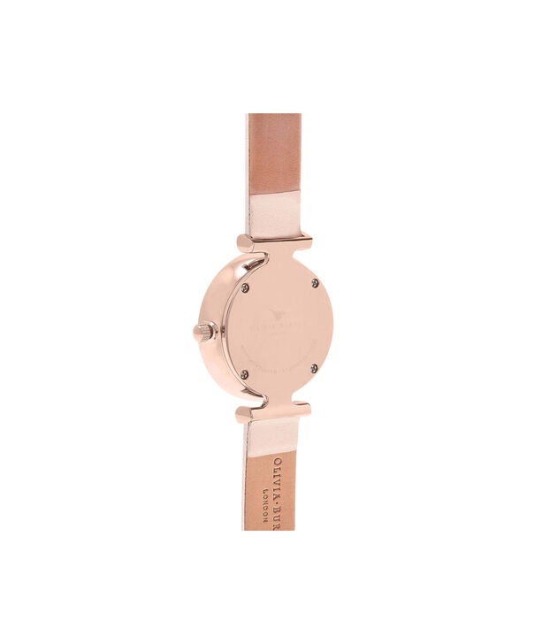 OLIVIA BURTON LONDON  T-Bar Nude Peach & Rose Gold Watch OB16AM95 – Midi Dial Round in White and Peach - Back view