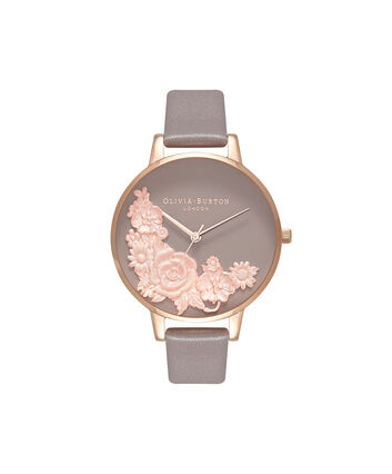 OLIVIA BURTON LONDON  Floral Bouquet London Grey & Rose Gold Watch OB16FS99 – Big Dial Round in Floral and Rose Gold - Front view